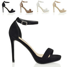WOMENS HIGH HEEL PLATFORMS PEEP TOE LADIES BARELY THERE ANKLE STRAP SANDALS SIZE