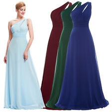 ST One Shoulder Chiffon Bridesmaid Ball Gown Evening Prom Party Dress 8 Size US