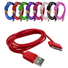 Color sincronización de datos USB Cargador Cables Compatibles iPod iPhone 3GS 3G