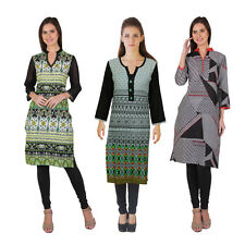 Yellow Tree Printed Cotton Kurtis Combo pack of 3 Kurtis Only Combo