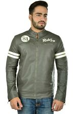 Branded Imported Export Surplus Armani Stylish Slim Fit Faux Gray Leather Jacket
