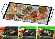 BARBECUE MEAT ROASTING FLIP BASKET BBQ COOKING GRILL WOODEN HANDLE ROASTER FISH