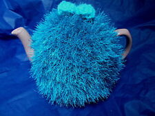 Funky fluffy tea cosy hand knitted in Wales TURQUOISE please see size guide