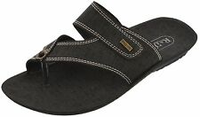 Axtry Mens Casual Slippers Chappal Black (ALFA_1_KHADI)