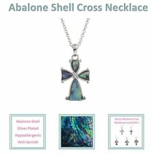 Abalone Paua Shell Mother of Pearl Cross Jesus Christ Pendant Necklace BellaMira