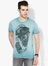 Ed-Hardy-Charcoal-Grey-Printed-Round-Neck-T-Shirt For Men ( Export Surplus)