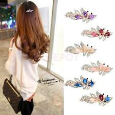 Bridal Hair Accessory Crystal Rhinestones Butterfly Hair Barrette Clips Gold
