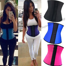 Sexy Women Black Corset Body Shaper Basque Latex Lingerie Waist Trainer Steel UK