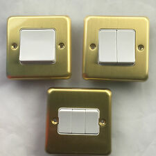 MK Albany Plus 10Amp 1G 2G 3G 2 Way Light Switch Wide Rocker Pure Satin Brass