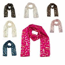 Music Notes Scarf Gold Print Treble Clef & Music Note Group Choir Scarf Wrap