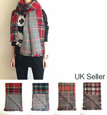 Double Sided Reversible Tartan Check Plaid Houndstooth Scarf Shawl Winter Gift