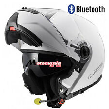 Casco de moto modular LS2 FF325 Strobe Blanco BLUETOOTH-INTERCOM Integrado