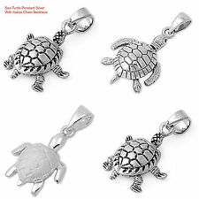 """Sterling Silver 925 """"SEA TURTLE"""" PENDANT DESIGN WITH SNAKE CHAIN NECKLACE 16"""""""