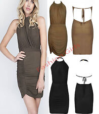 New Womens Ladies Celebs Open Backless Halter Neck Drape Mini Party Slinky Dress