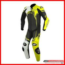 Alpinestars Tuta Moto Racing Gp Plus Bianco Nero Giallo Fluo Pelle Intera