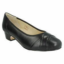 CRESSIDA LADIES LEATHER SLIP ON LOW BLOCK HEEL COURT SHOES EQUITY 905619 4E FIT