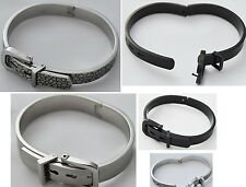 Stainless Steel Belt Buckle Bracelet Bangle for mens ladies Tiger Black Silver
