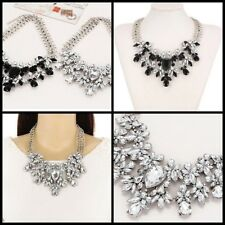 Statement bib crystal Rhinestone Collar Chunky Necklace Party Necklace