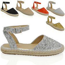 WOMENS FLAT ANKLE STRAP ESPADRILLES LADIES GLADIATOR CASUAL PLATFORM SHOES