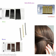 Kirby Grip Wavy Bobby Bob Pins Waved Hairpin Hair Grip Slides Brown-Gold-Colour