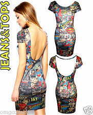 Womens New Ladis Superman comic Low scoop Back Bodycon Tunic Party Dress 8-14