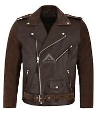 New BRANDO Brown Hide Suede Men's Classic Motorcycle Biker Real Leather Jacket