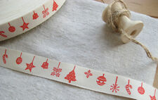 Vintage Style Christmas Cotton Cream & Red Ribbon 20mm - Tree Stocking Snowflake