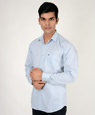 Branded Light Blue Small Check Shirt For Men ( T H ) (Export Surplus)
