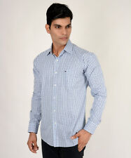 Branded Light Blue Big Check Shirt For Men ( T H ) (Export Surplus)