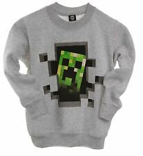 Official Licensed MINECRAFT Creeper Inside Grey Youth Sweater Jumper Creeper!!
