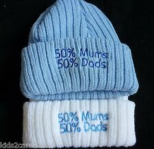 """NEWBORN BOY KNITTED HAT WITH """"50% MUMS 50% DADS """" , SOFT AND MADE IN UK"""