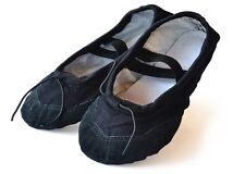 UK Stock GIRL Lady Black Comfortable Canvas Ballet Dance Flat Shoes Size 2.5-7.5