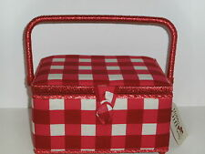 Hobby Gift-Medium-Red and White Check Fabric Covered Sewing Box