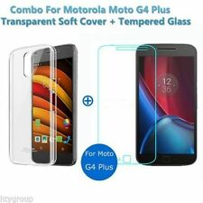 Combo Deal For Moto G4 Plus+ Transparent Back Cover & Tempered Glass & Cases
