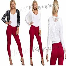 New Womens Ladies Floral Lace Mesh Bolero Shrug Long Sleeve Cropped Cardigan Top