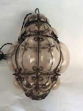 Vintage Arts Crafts Hanging Globular Glass & Metal Ceiling Light