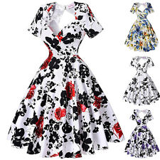 New Womens Vintage Hollowed Back Swing 1950s 60s Retro Pinup Picnic Party Dreses