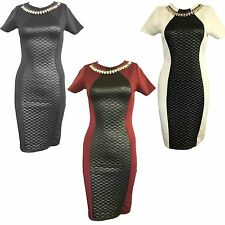 New Womens Ladies Nacklace Quilted Front Bodycon Slim Fit Dress Party Short Midi