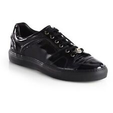 VERSACE MEN'S ICONIC SHINY PATENT LEATHER LOGO Low-Top SNEAKERS EU 43 US 10