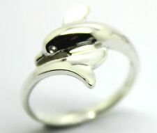 GENUINE NEW 9ct Yellow or Rose or White Gold or Sterling Silver Dolphin Ring