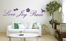 Love Joy Peace Quote, Vinyl Wall Art Sticker, Mural, Decal. Home Decor