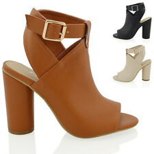 NEW WOMENS CYLINDRICAL HEEL SANDALS LADIES PEEP TOE ANKLE STRAP SHOE BOOTS