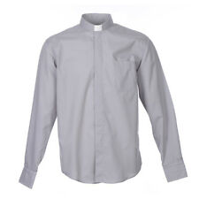 Camisa Clergy Manga Larga Color Uniforme Mixto Algodón Gris claro