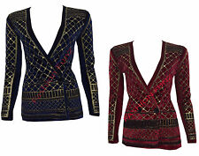 Womens Ladies Beaded Glitter Embellished Long Sleeve Velvet Button Blazer Jacket