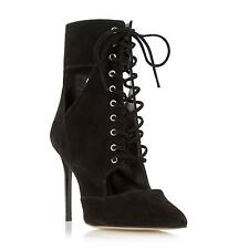 Dune Ladies OLEA Suede Lace Up Pointed Toe Ankle Boot in Black
