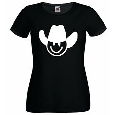 COWBOY SMILEY FACE - FUN LADIES SKINNY FIT T SHIRT - VARIOUS SIZES + COLOURS