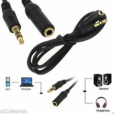 3.5mm Stereo Mini Jack Plug Extension Lead Male to Female Socket Cable Wire 4534