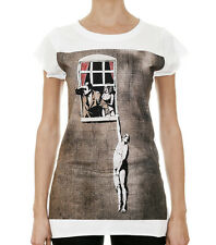 BANKSY / Naked Man Hanging From Window Womens White T-Shirt