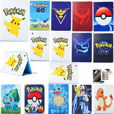 PU Leather Protective Case for Apple iPad Tablets Stand Flip Cover Pikachu Skin