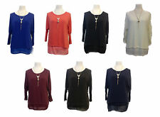 New Italian Winter Womens Ladies Batwing Jumper Top Matching Vest+Necklace OSFA